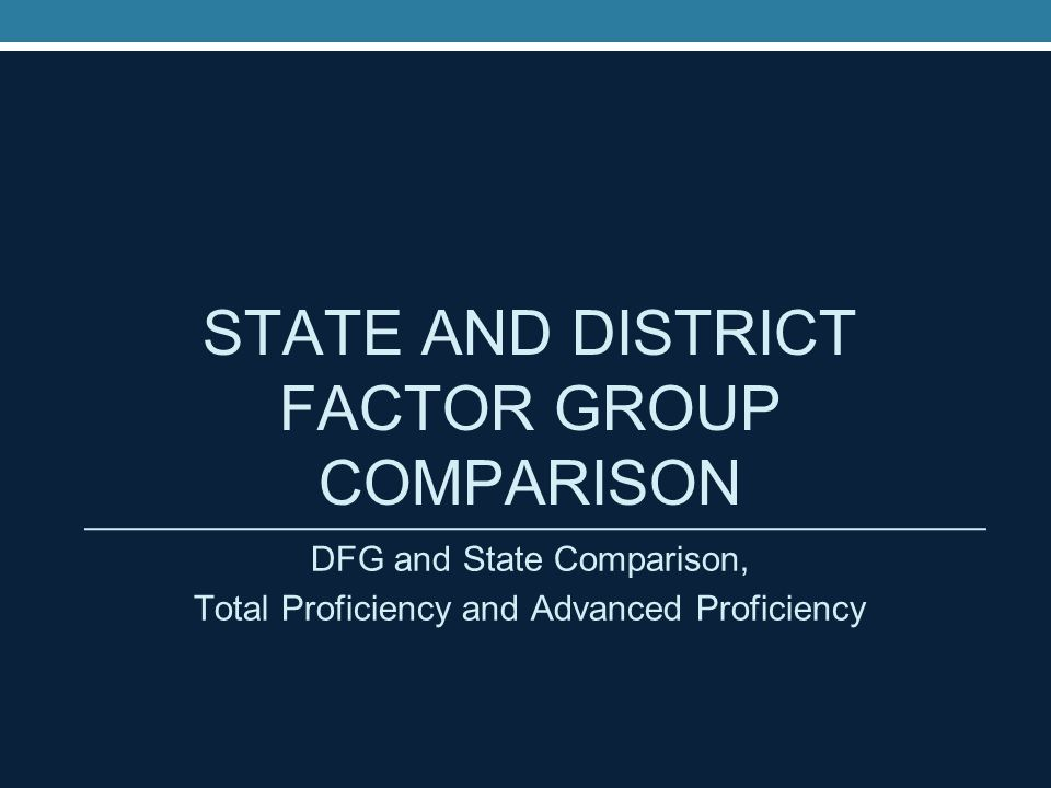 District Factor Group J Districts The DFG Model The DFG is an index of socioeconomic status that is created using data for several indicators available in the decennial Census of Population.