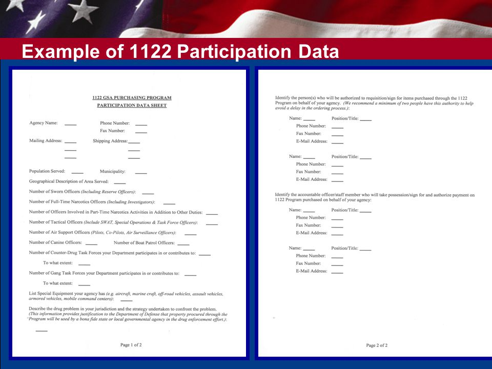 12 Example of 1122 Participation Data Sheet