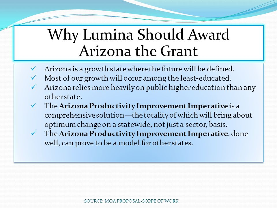 Why Lumina Should Award Arizona the Grant Arizona is a growth state where the future will be defined. Most of our growth will occur among the least‐ed