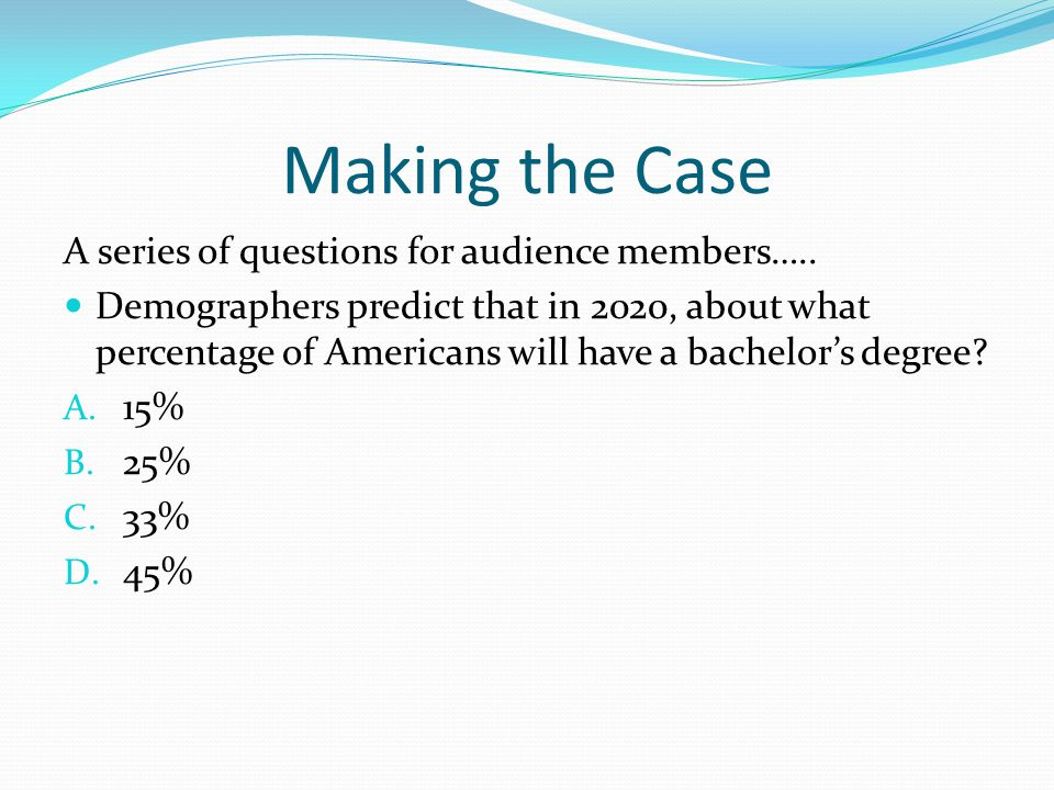 Making the Case A series of questions for audience members….. Demographers predict that in 2020, about what percentage of Americans will have a bachel