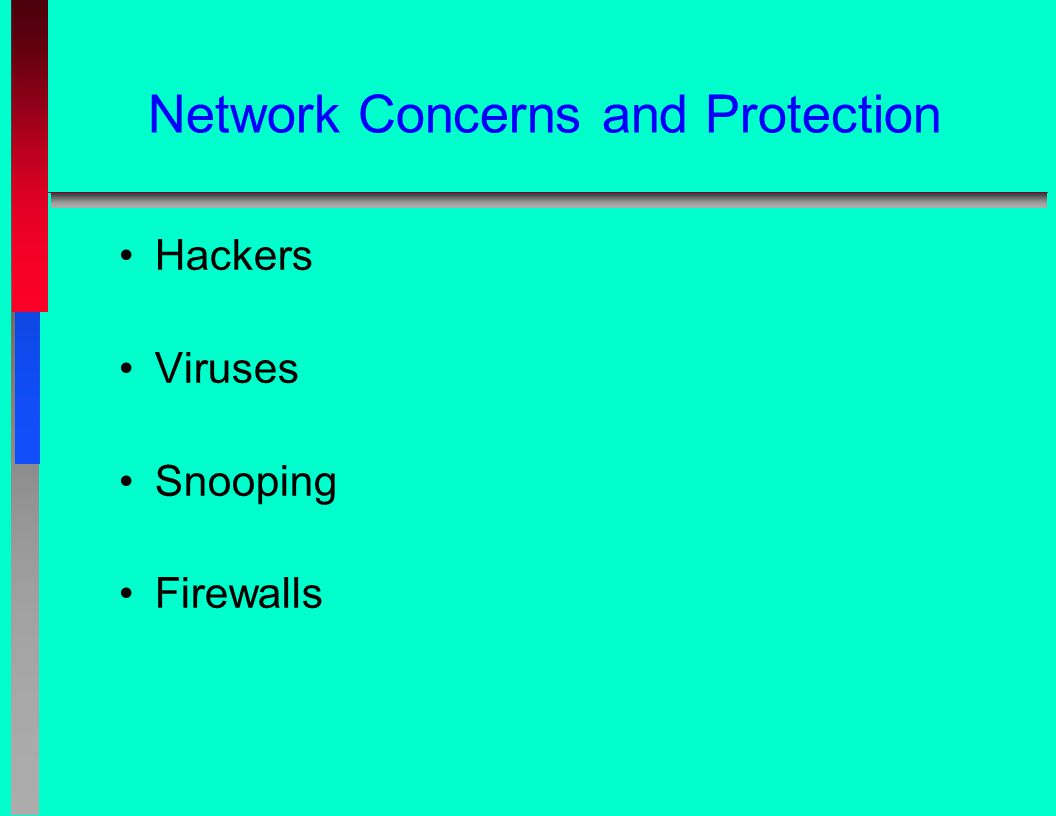 Network Concerns and Protection Hackers Viruses Snooping Firewalls