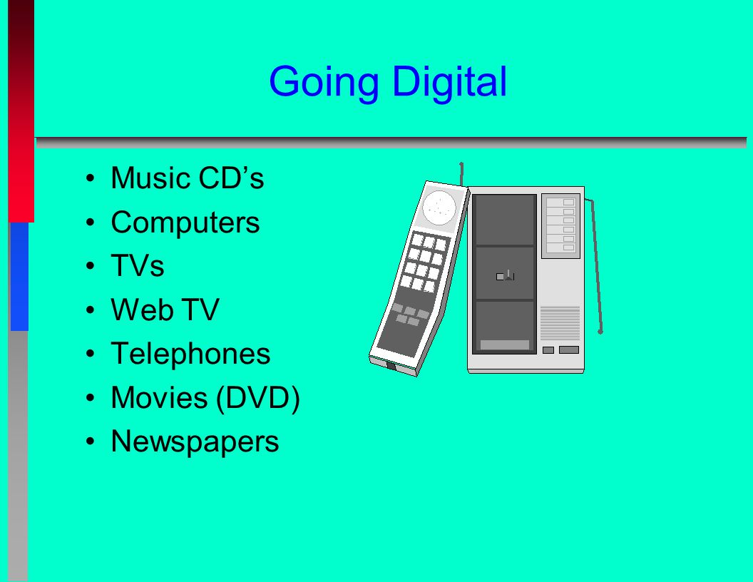 Going Digital Music CD's Computers TVs Web TV Telephones Movies (DVD) Newspapers