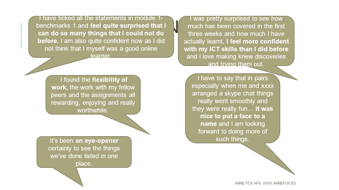 INTERACTIVE ONLINE LEARNING ANNE FOX APS WWW.ANNEFOX.EU I have ticked all the statements in module 1- benchmarks 1 and feel quite surprised that I can do so many things that I could not do before.