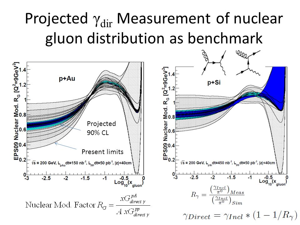 Projected γ dir Measurement of nuclear gluon distribution as benchmark Present limits Projected 90% CL 17