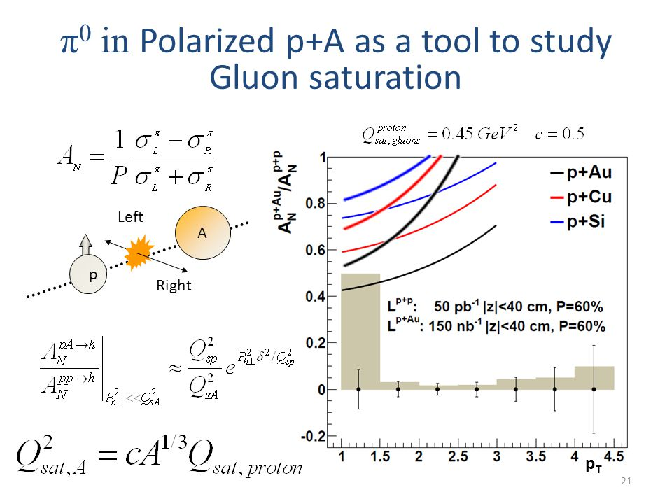 21 π 0 in Polarized p+A as a tool to study Gluon saturation Right Left p A pTpT