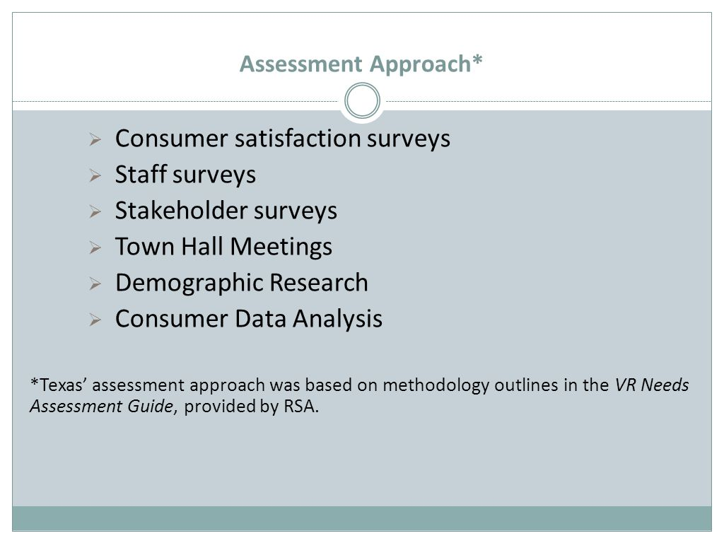 Assessment Approach*  Consumer satisfaction surveys  Staff surveys  Stakeholder surveys  Town Hall Meetings  Demographic Research  Consumer Data Analysis *Texas' assessment approach was based on methodology outlines in the VR Needs Assessment Guide, provided by RSA.