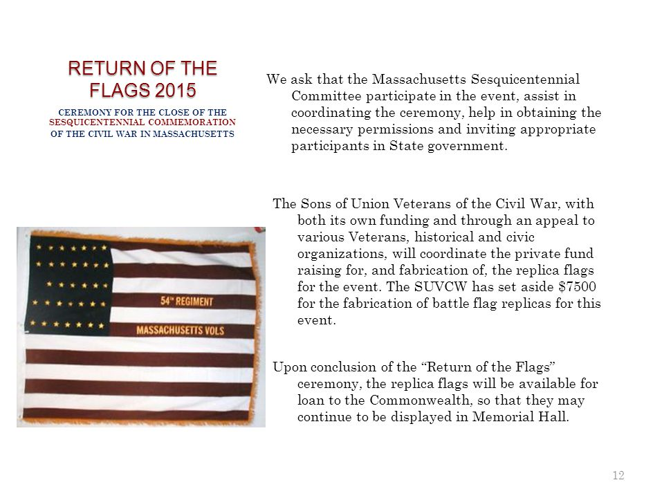 RETURN OF THE FLAGS 2015 We ask that the Massachusetts Sesquicentennial Committee participate in the event, assist in coordinating the ceremony, help