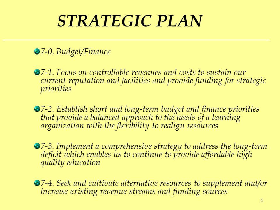 STRATEGIC PLAN 7-0. Budget/Finance 7-1.