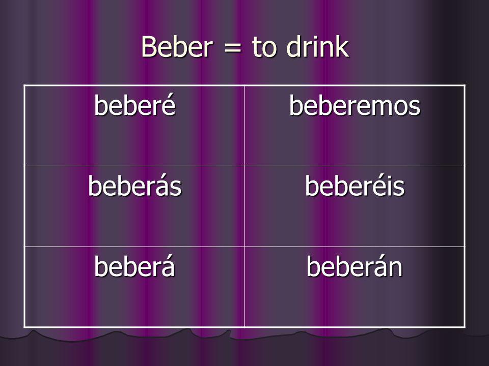 Beber = to drink beberébeberemos beberásbeberéis beberábeberán