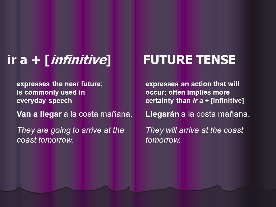 expresses the near future; is commonly used in everyday speech expresses an action that will occur; often implies more certainty than ir a + [infiniti