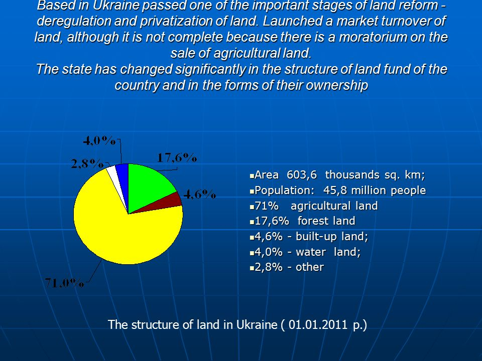The structure of property of the land resources in Ukraine 51,4 % - private property; 51,4 % - private property; 48,5% - state property ; 48,5% - state property ; 0,1% - municipal property 0,1% - municipal property As a result of land reform is now under state property requires 29,6 million hectares (48,5%) land, private – 30,6 million hectares (51,4%), municipal – 117,0 thousands hectares (0,1%).