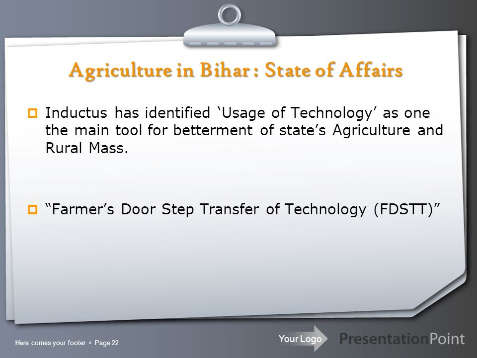 Your Logo  Inductus has identified 'Usage of Technology' as one the main tool for betterment of state's Agriculture and Rural Mass.