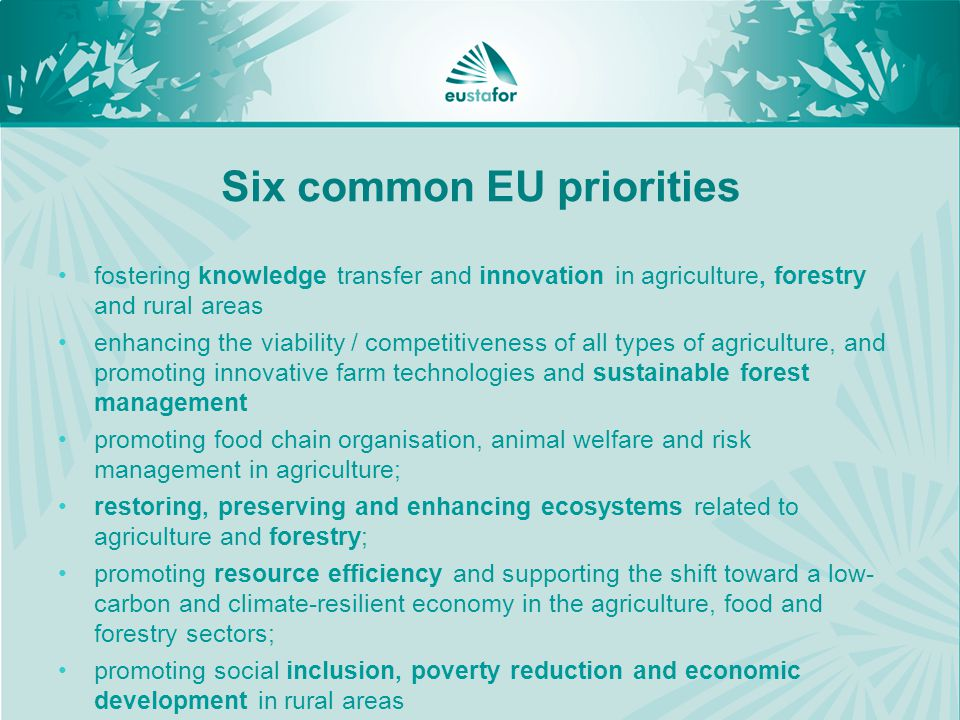 Six common EU priorities fostering knowledge transfer and innovation in agriculture, forestry and rural areas enhancing the viability / competitiveness of all types of agriculture, and promoting innovative farm technologies and sustainable forest management promoting food chain organisation, animal welfare and risk management in agriculture; restoring, preserving and enhancing ecosystems related to agriculture and forestry; promoting resource efficiency and supporting the shift toward a low- carbon and climate-resilient economy in the agriculture, food and forestry sectors; promoting social inclusion, poverty reduction and economic development in rural areas