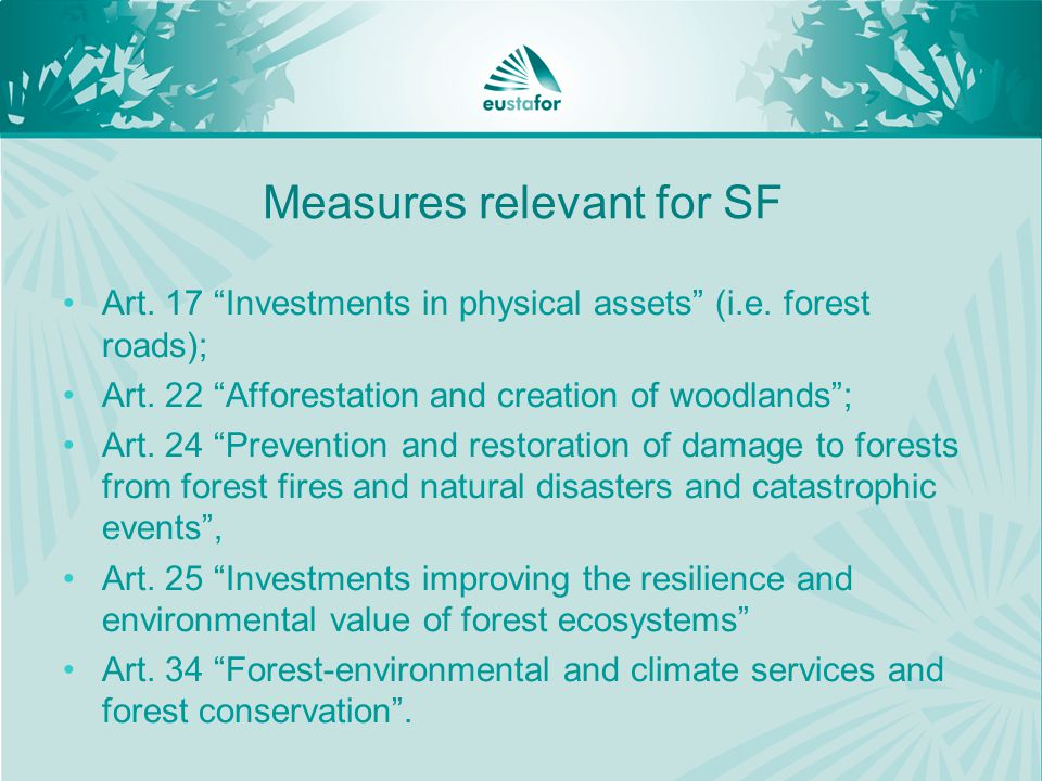 Measures relevant for SF Art. 17 Investments in physical assets (i.e.