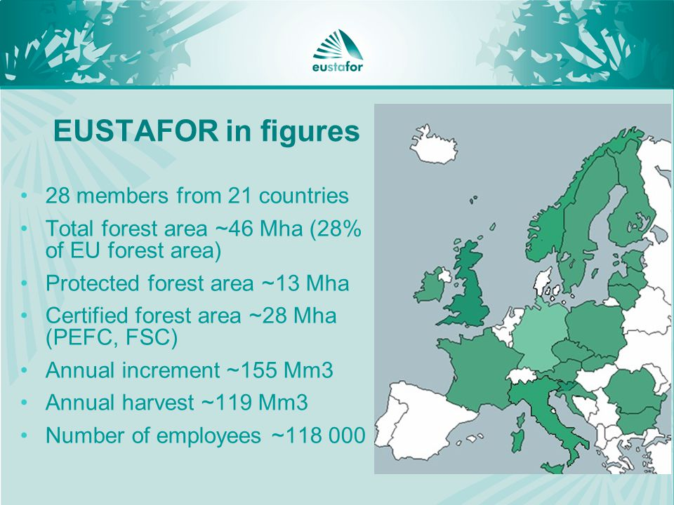 EUSTAFOR in figures 28 members from 21 countries Total forest area ~46 Mha (28% of EU forest area) Protected forest area ~13 Mha Certified forest area ~28 Mha (PEFC, FSC) Annual increment ~155 Mm3 Annual harvest ~119 Mm3 Number of employees ~
