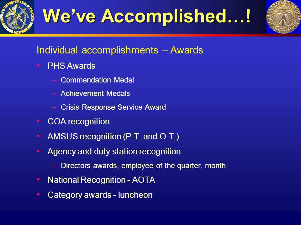 We've Accomplished…! We've Accomplished…! Individual accomplishments – Awards PHS Awards – Commendation Medal – Achievement Medals – Crisis Response S