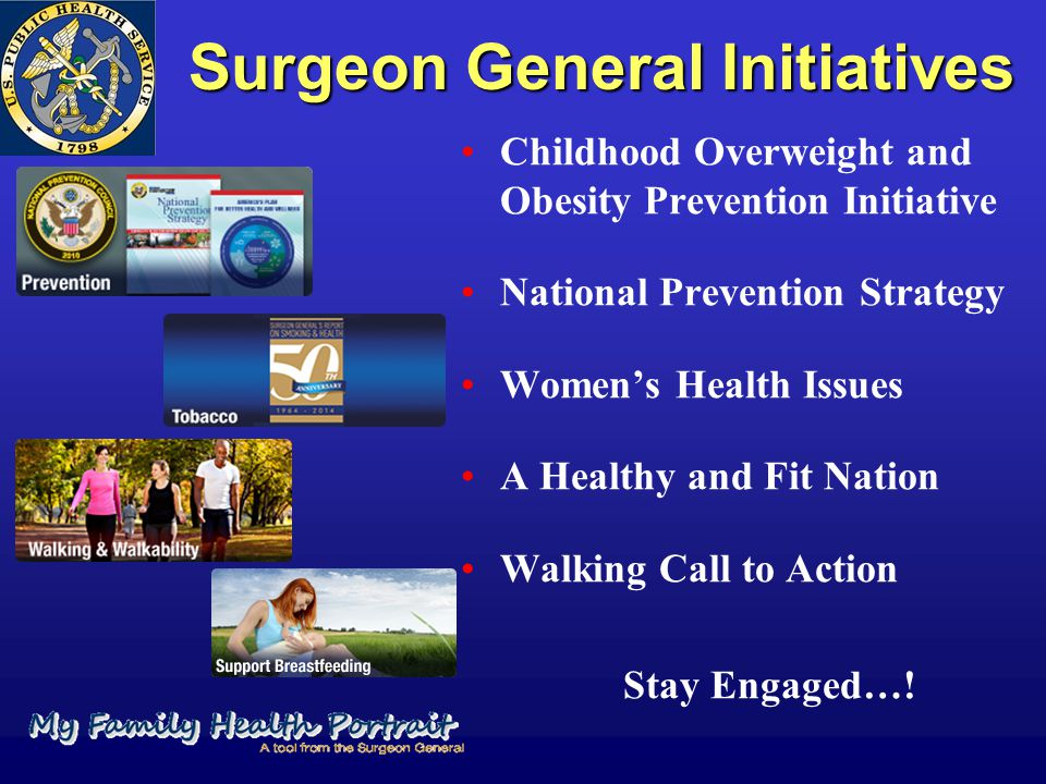Surgeon General Initiatives Childhood Overweight and Obesity Prevention Initiative National Prevention Strategy Women's Health Issues A Healthy and Fi