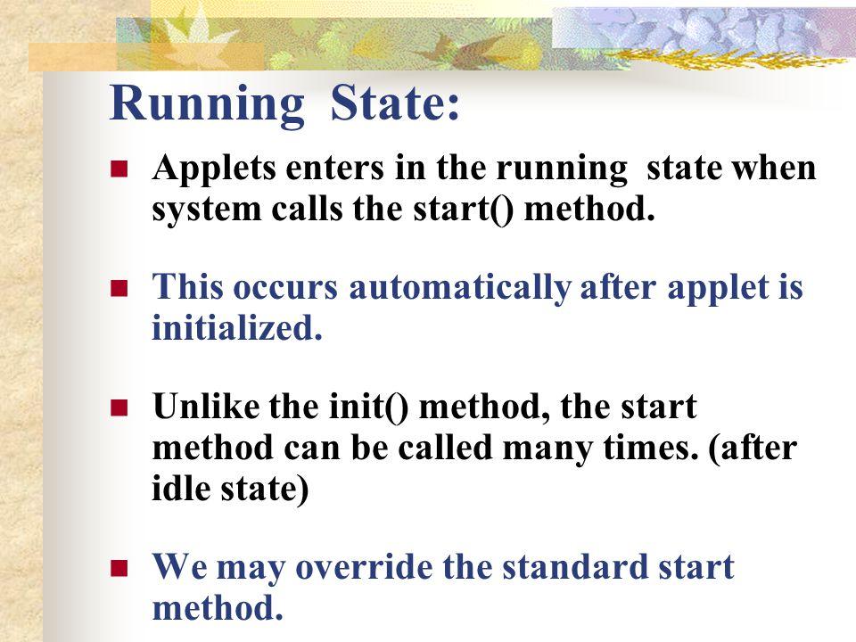 User input output thru Applet: import java.awt.*; import java.applet.*; public class UserIn extends Applet{ TextField text1, text2; public void init(){ text1= new TextField(8); text2= new TextField(8); add(text1); add(text2); text1.setText( 0 ); text2.setText( 0 ); }