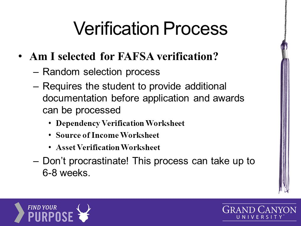 Verification Process Am I selected for FAFSA verification.