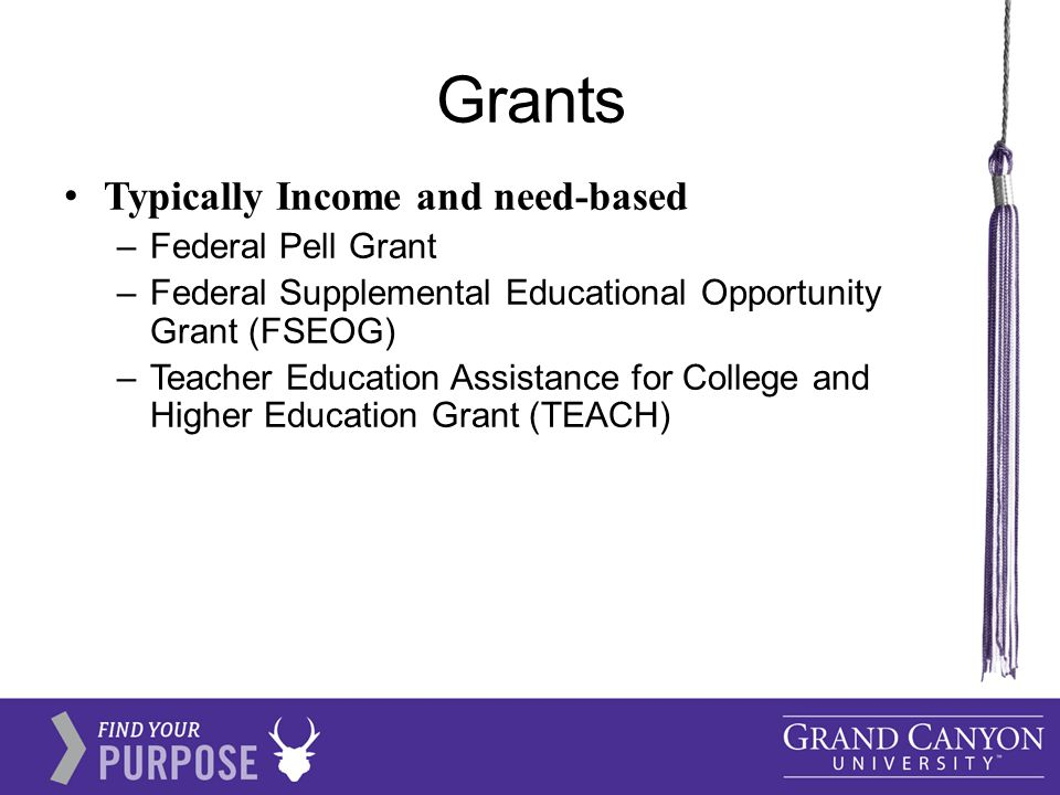 Grants Typically Income and need-based –Federal Pell Grant –Federal Supplemental Educational Opportunity Grant (FSEOG) –Teacher Education Assistance for College and Higher Education Grant (TEACH)