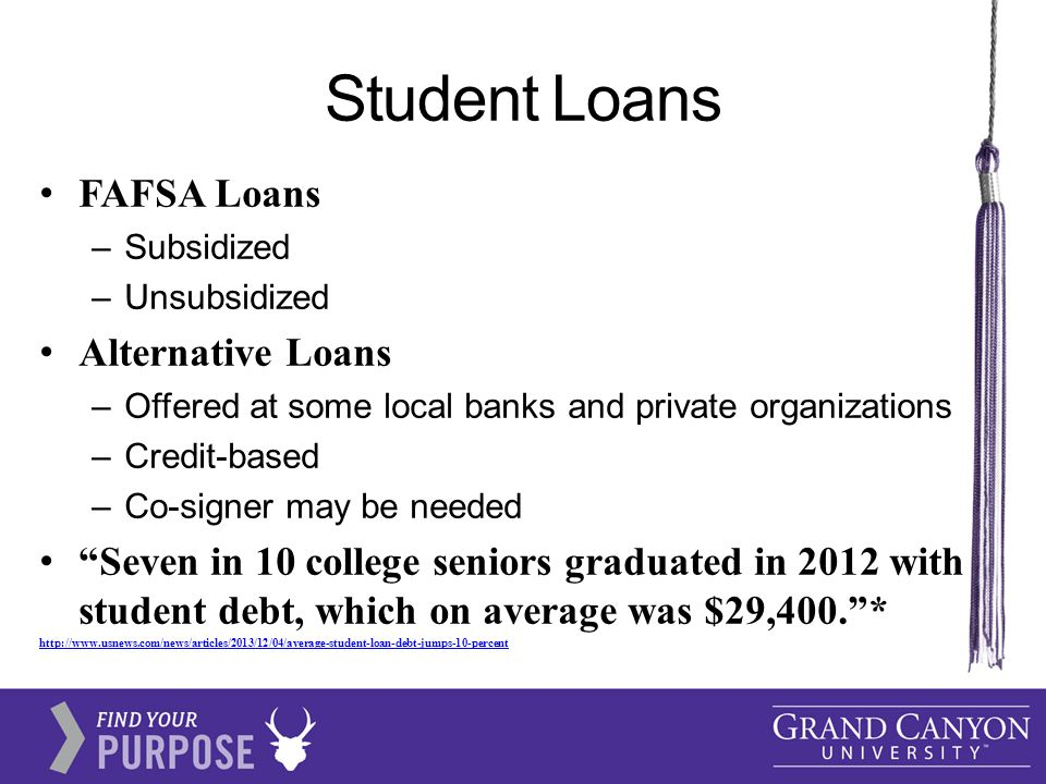 Student Loans FAFSA Loans –Subsidized –Unsubsidized Alternative Loans –Offered at some local banks and private organizations –Credit-based –Co-signer may be needed Seven in 10 college seniors graduated in 2012 with student debt, which on average was $29,400. * http://www.usnews.com/news/articles/2013/12/04/average-student-loan-debt-jumps-10-percent