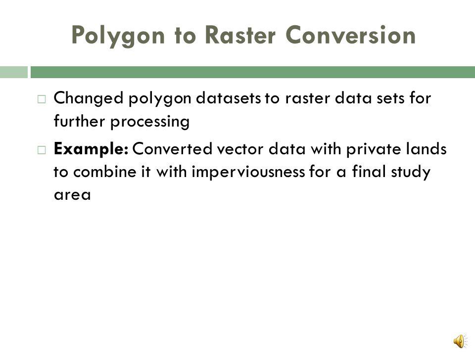 Processes  Polygon to Raster  Raster Calculator  Neighborhood Statistics