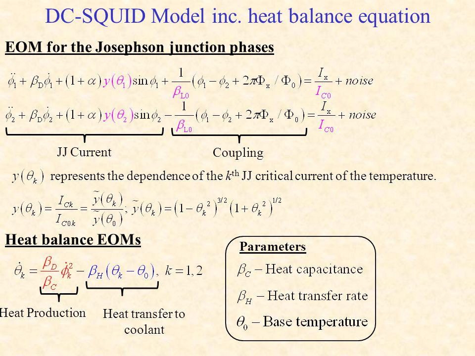 DC-SQUID Model inc. heat balance equation EOM for the Josephson junction phases JJ Current Coupling represents the dependence of the k th JJ critical
