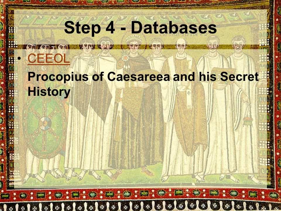 Step 4 - Databases CEEOL Procopius of Caesareea and his Secret History