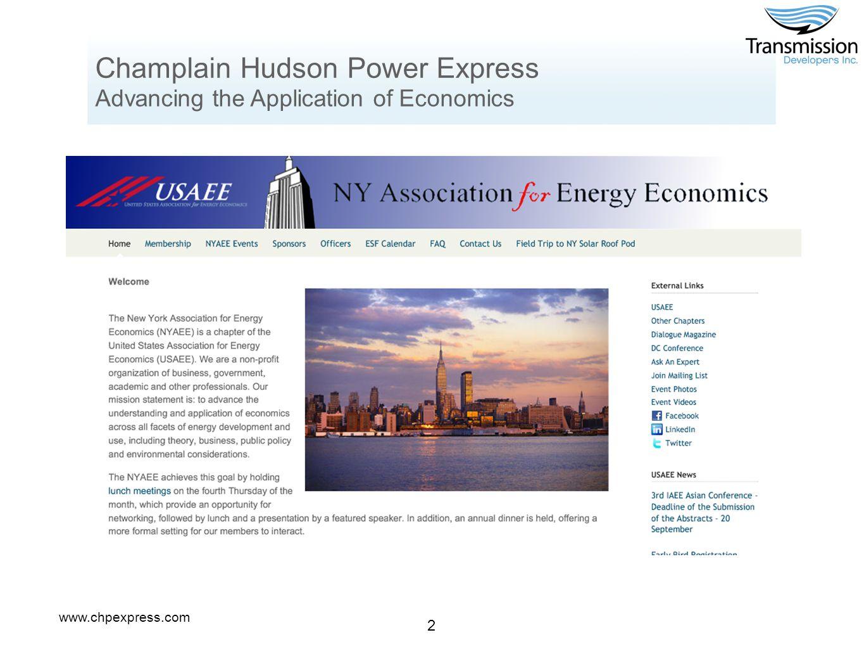 www.chpexpress.com 2 Champlain Hudson Power Express Advancing the Application of Economics