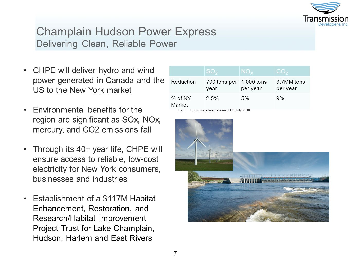 Champlain Hudson Power Express Broad Support Twenty members of New York Congressional delegation NY State and NY City Economic Development Corporations Local chapters of the International Union of Operating Engineers and Laborers International Union of North America NY Energy Consumers Council Coalition Helping Organize a Kleaner Environment Three daily newspapers editorialized in support of the project New York League of Conservation Voters 8