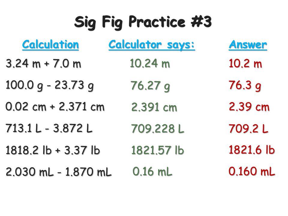 Sig Fig Practice #3 3.24 m + 7.0 m Calculation Calculator says: Answer 10.24 m 10.2 m 100.0 g - 23.73 g 76.27 g 76.3 g 0.02 cm + 2.371 cm 2.391 cm 2.39 cm 713.1 L - 3.872 L 709.228 L 709.2 L 1818.2 lb + 3.37 lb 1821.57 lb 1821.6 lb 2.030 mL - 1.870 mL 0.16 mL 0.160 mL