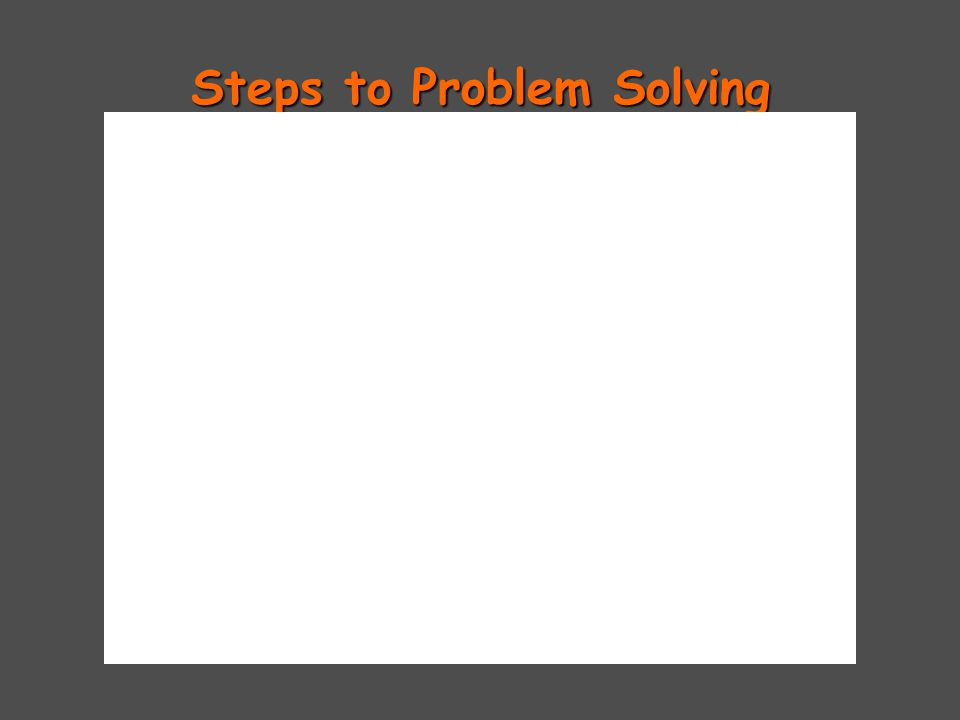 Steps to Problem Solving Write down the given amount.