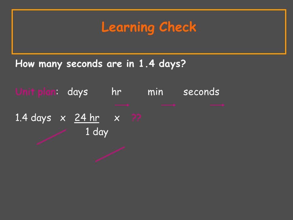 Learning Check How many seconds are in 1.4 days.