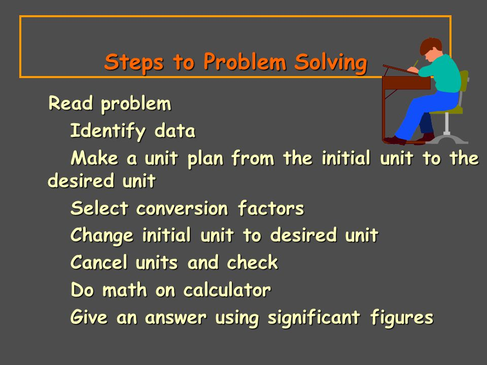 Steps to Problem Solving Read problem Read problem Identify data Identify data Make a unit plan from the initial unit to the desired unit Make a unit plan from the initial unit to the desired unit Select conversion factors Select conversion factors Change initial unit to desired unit Change initial unit to desired unit Cancel units and check Cancel units and check Do math on calculator Do math on calculator Give an answer using significant figures Give an answer using significant figures