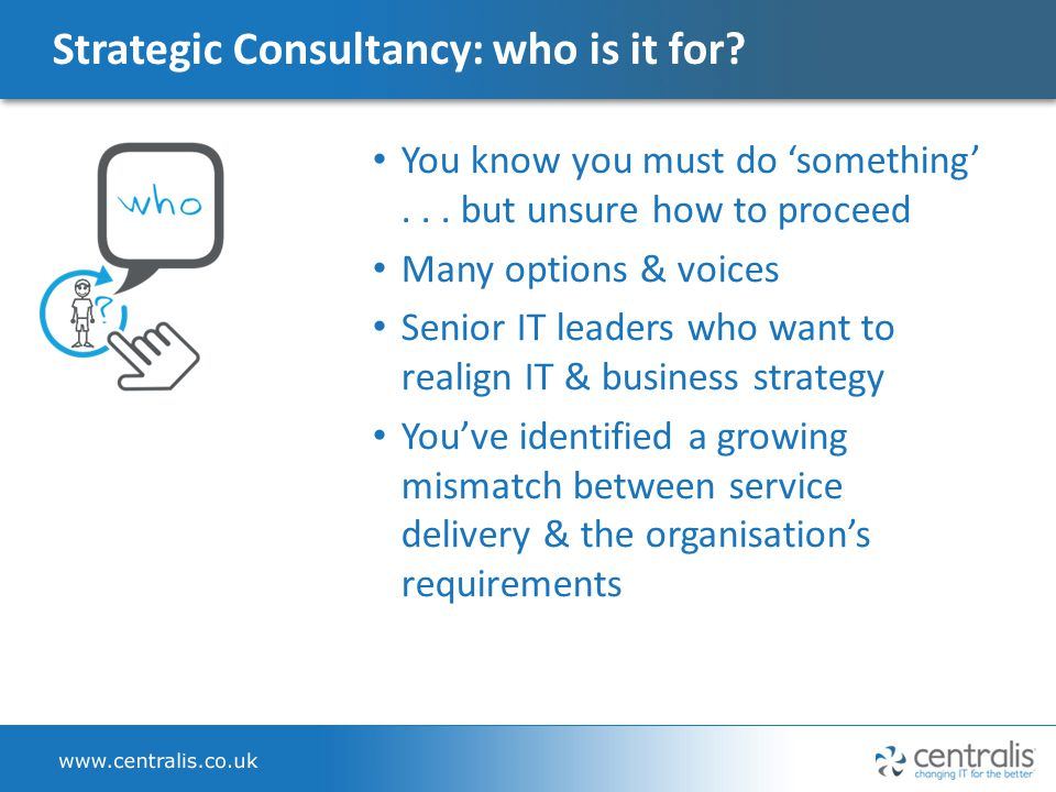 Strategic Consultancy: who is it for.You know you must do 'something'...