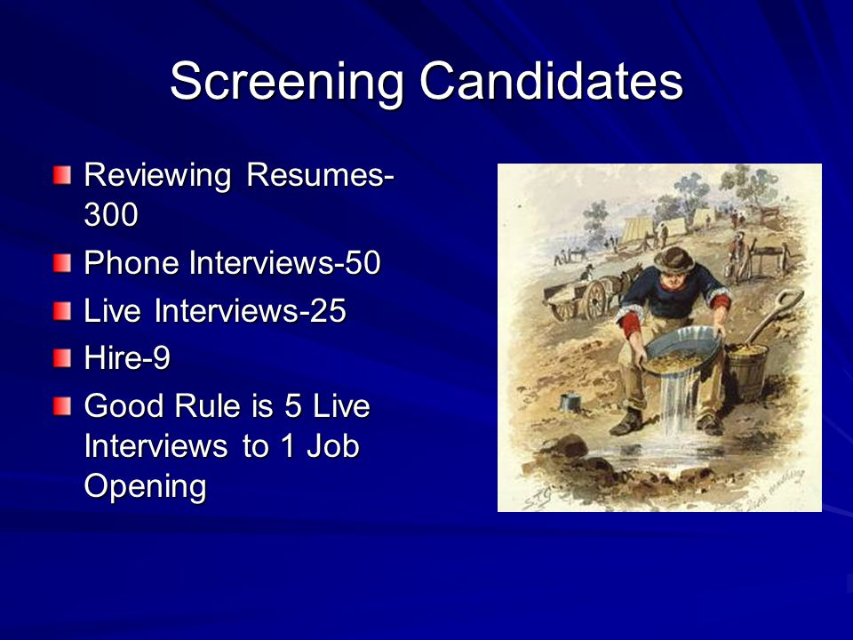 Screening Candidates Reviewing Resumes- 300 Phone Interviews-50 Live Interviews-25 Hire-9 Good Rule is 5 Live Interviews to 1 Job Opening