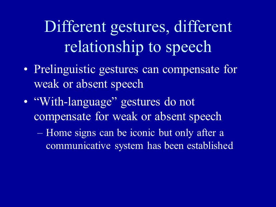Different gestures, different relationship to speech Prelinguistic gestures can compensate for weak or absent speech With-language gestures do not compensate for weak or absent speech –Home signs can be iconic but only after a communicative system has been established