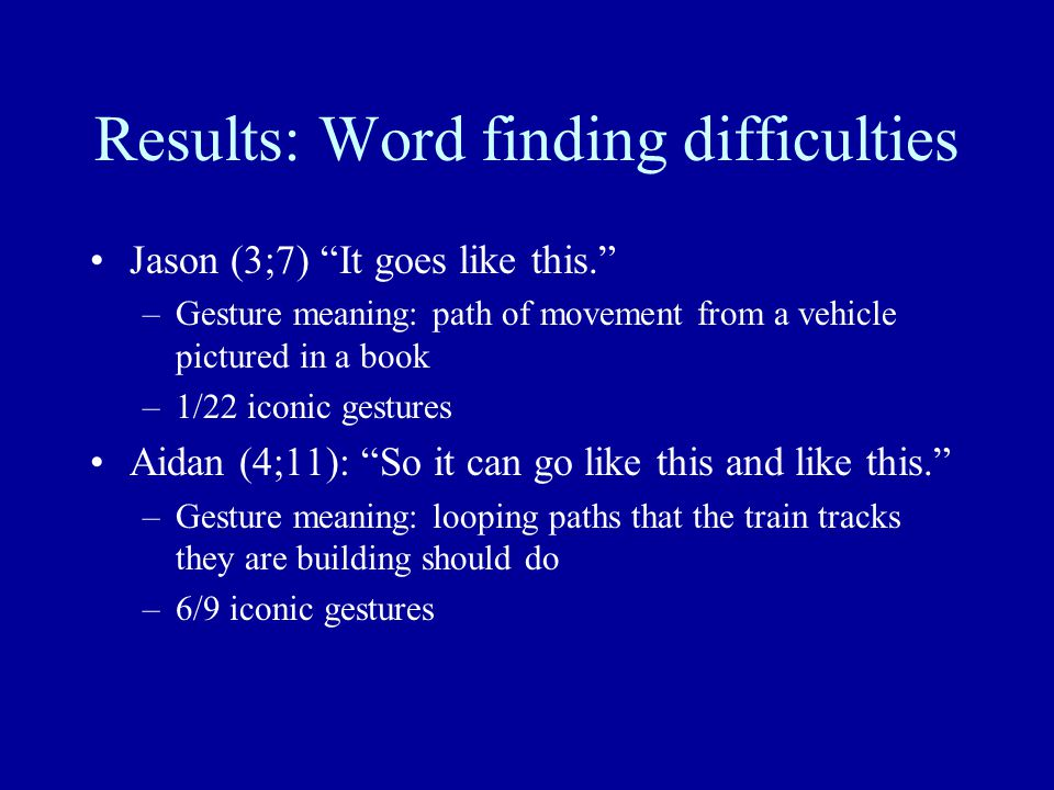 Results: Word finding difficulties Jason (3;7) It goes like this. –Gesture meaning: path of movement from a vehicle pictured in a book –1/22 iconic gestures Aidan (4;11): So it can go like this and like this. –Gesture meaning: looping paths that the train tracks they are building should do –6/9 iconic gestures