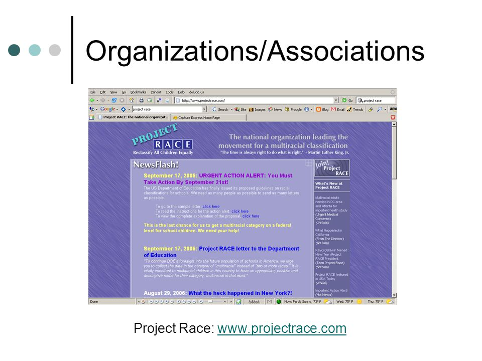 Organizations/Associations Project Race: www.projectrace.comwww.projectrace.com