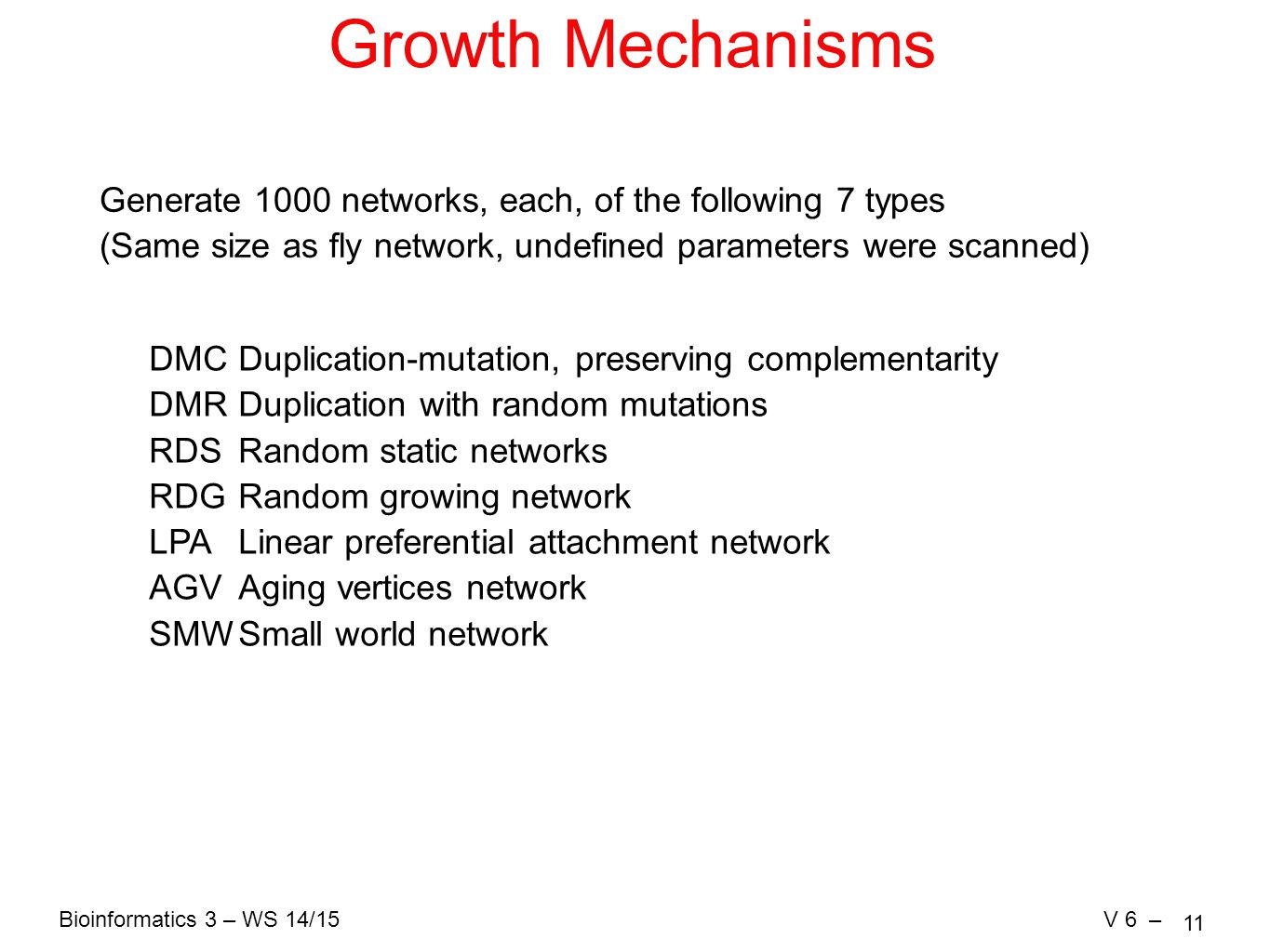 Bioinformatics 3 – WS 14/15V 6 – 11 Growth Mechanisms Generate 1000 networks, each, of the following 7 types (Same size as fly network, undefined parameters were scanned) DMC Duplication-mutation, preserving complementarity DMRDuplication with random mutations RDS Random static networks RDGRandom growing network LPA Linear preferential attachment network AGVAging vertices network SMWSmall world network