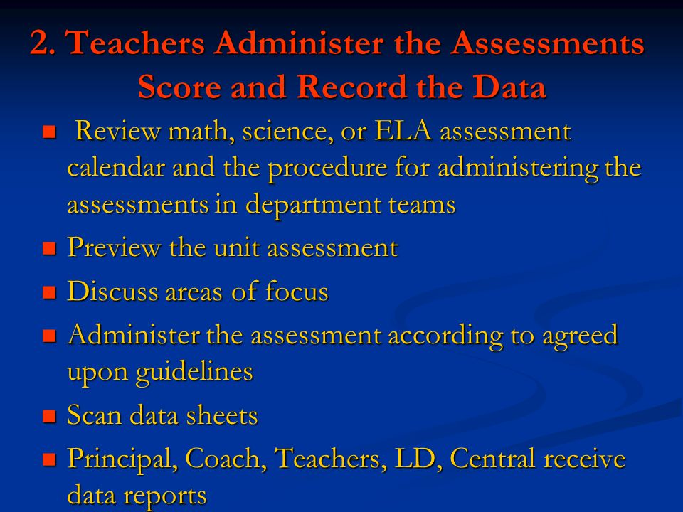2. Teachers Administer the Assessments Score and Record the Data Review math, science, or ELA assessment calendar and the procedure for administering
