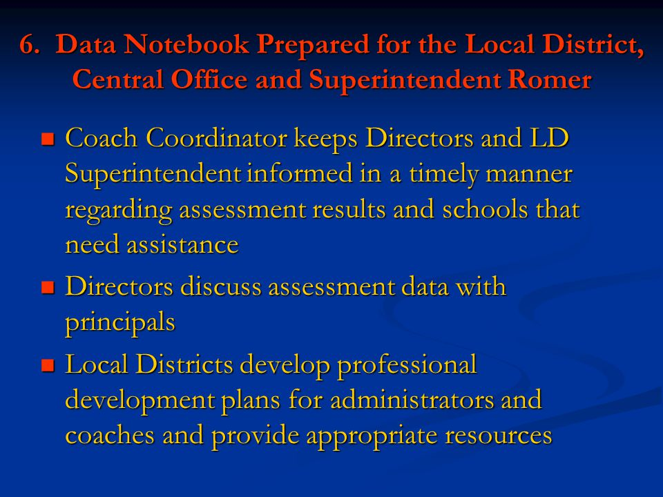 6. Data Notebook Prepared for the Local District, Central Office and Superintendent Romer Coach Coordinator keeps Directors and LD Superintendent info