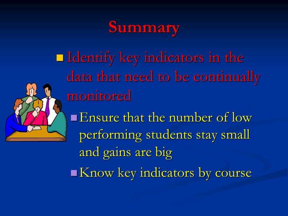 Summary Identify key indicators in the data that need to be continually monitored Identify key indicators in the data that need to be continually moni