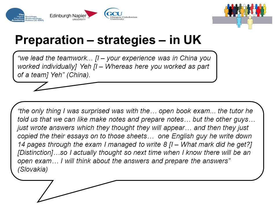 Preparation – strategies – in UK we lead the teamwork...