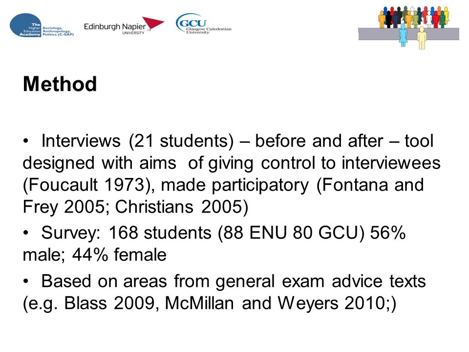 Method Interviews (21 students) – before and after – tool designed with aims of giving control to interviewees (Foucault 1973), made participatory (Fontana and Frey 2005; Christians 2005) Survey: 168 students (88 ENU 80 GCU) 56% male; 44% female Based on areas from general exam advice texts (e.g.