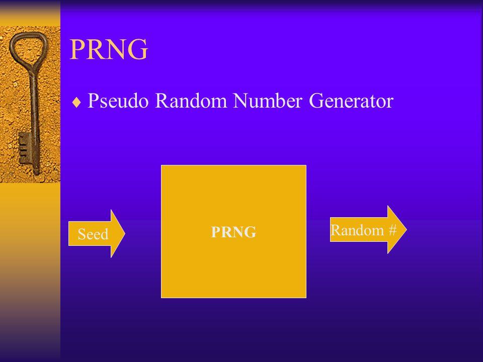 PRNG  Pseudo Random Number Generator Seed PRNG Random #