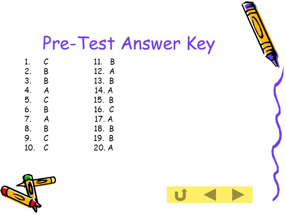 Pre-Test Answer Key 1.C 11. B 2.B 12. A 3.B 13. B 4.A 14.
