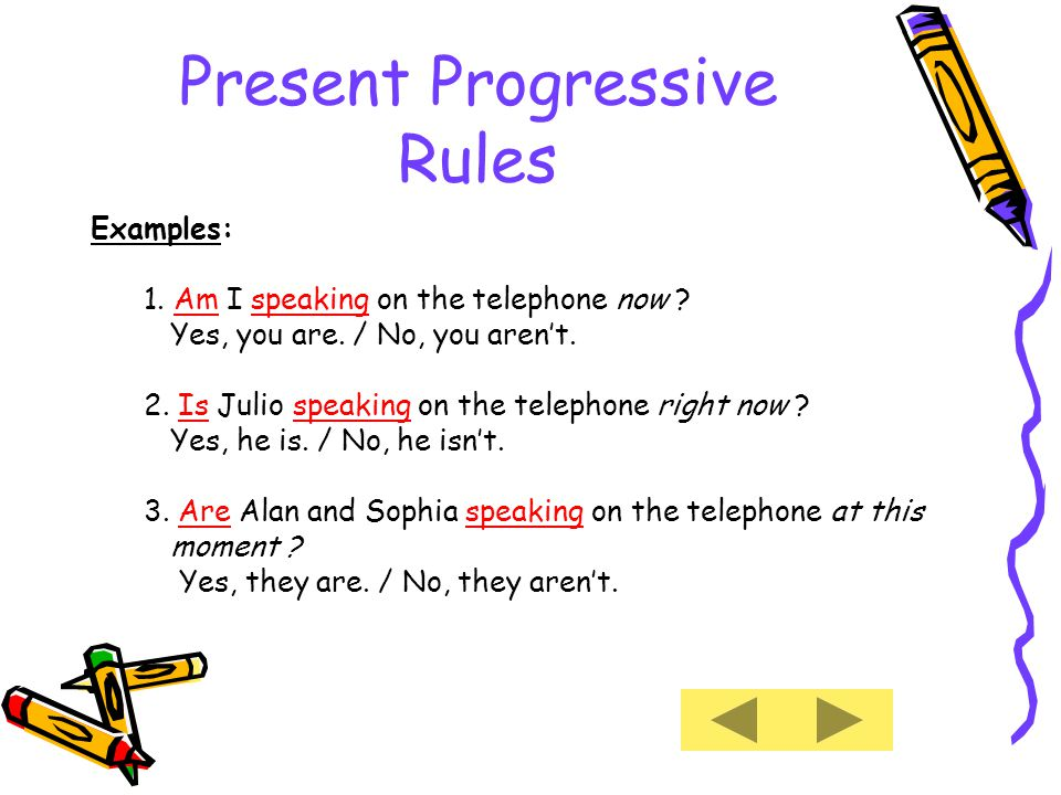 Present Progressive Rules Examples: 1. Am I speaking on the telephone now .