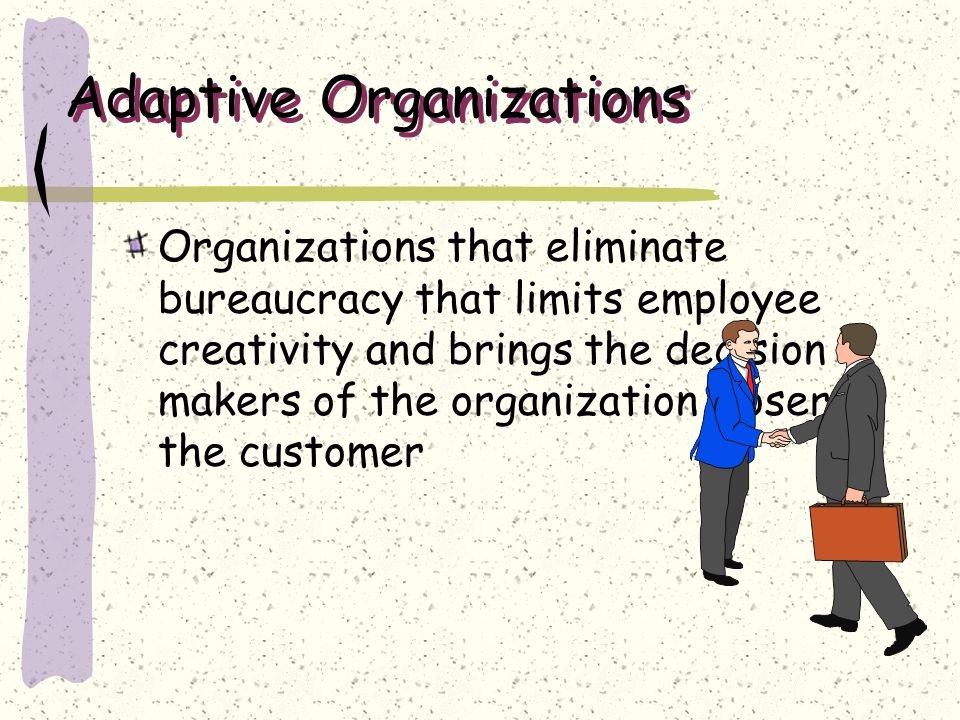 Adaptive Organizations Organizations that eliminate bureaucracy that limits employee creativity and brings the decision makers of the organization clo