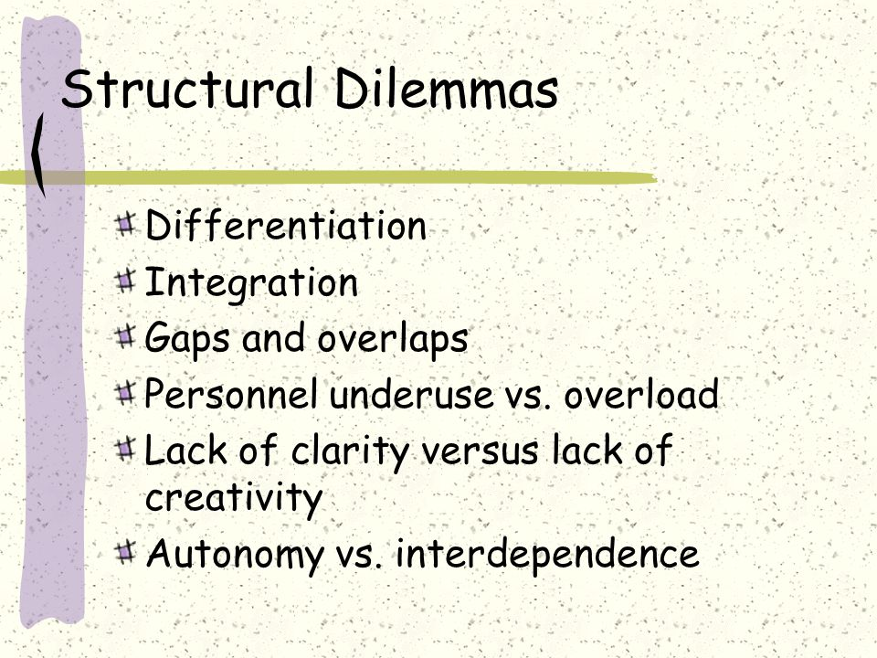 Structural Dilemmas Loose/tight Diffuse authority vs.